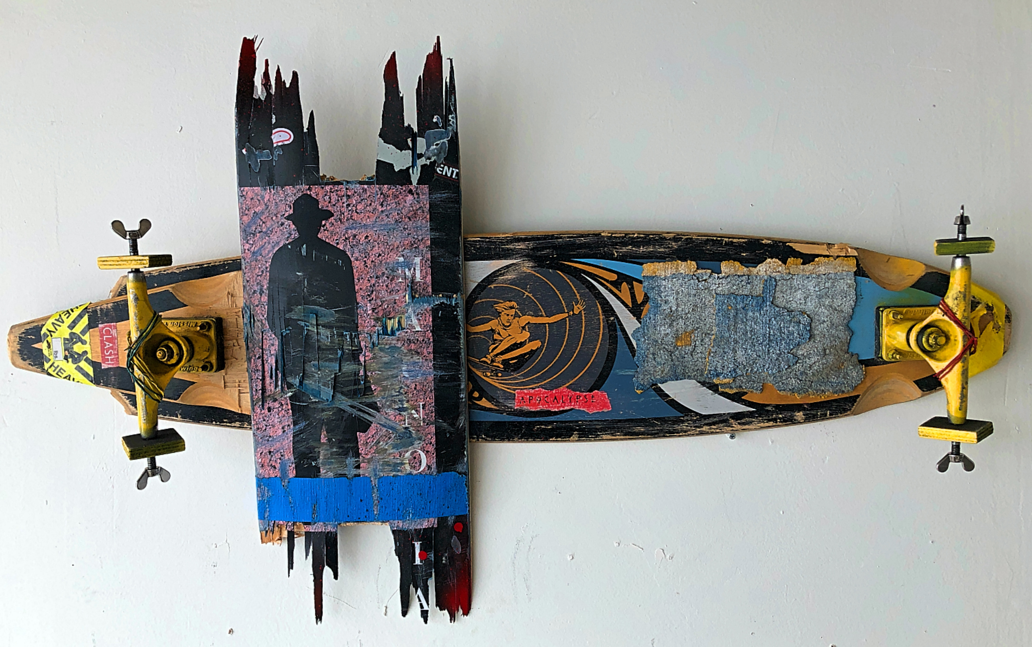 "NO FREE RIDE, 2020 | Recycled skateboards, paint, tape and wood, 16"" x 42"" 